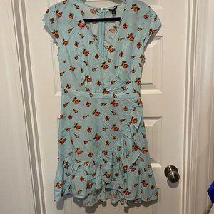 Blue Floral J Crew Wrap Dress